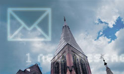 email icon over church tower